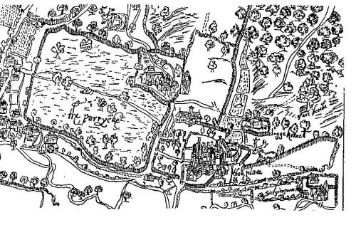 A 1610 Map of Titchfield, showing the 'The Place' and 'The Parke' - both mentioned in 'Love's Labour's Lost'.