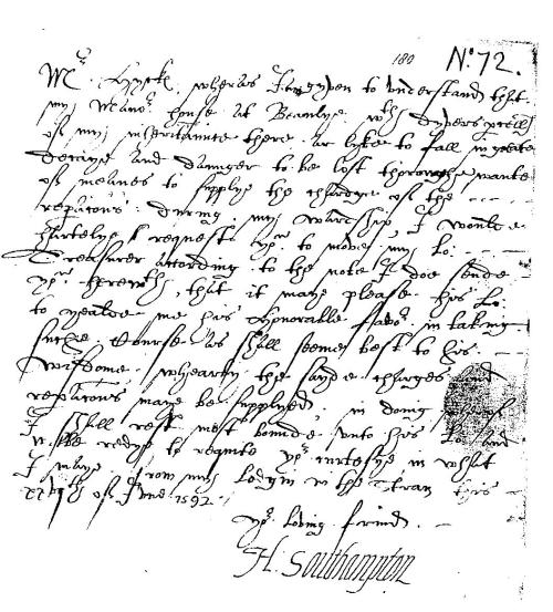 southampton shakespeare letter