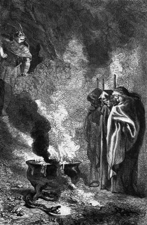 witches over cauldron