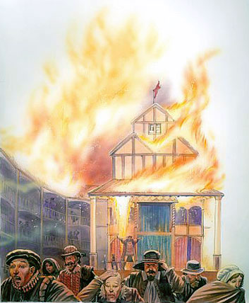 globe theatre burning