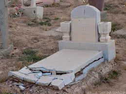 smashed grave