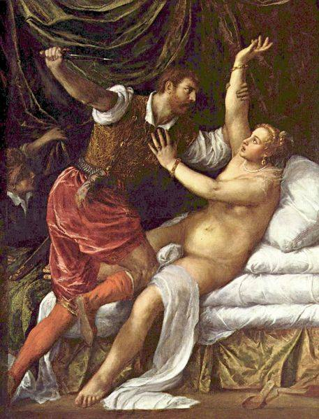 Titian's 'Rape of Lucrece' which The Shakespeare Code believes inspired Shakespeare's poem. The use of colours is identical. See 'Shakespeare in Italy'.