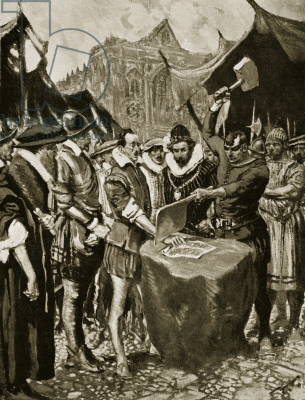 Stubbs has his hand cut off, 1521, illustration from 'Hutchinson's Story of the British Nation', c.1923 (litho)