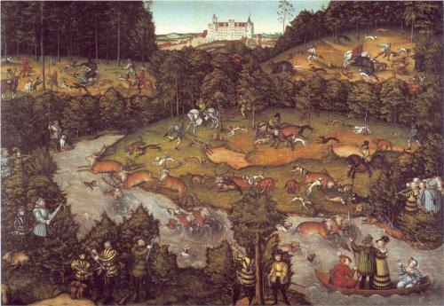 deer hunt painting cranach