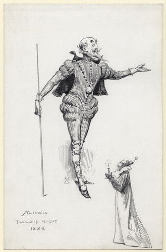 NPG D77,Sir Henry Irving (John Henry Brodribb) as Malvolio,by Harry Furniss
