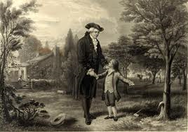 Youn George Washington, admitting to his father that he cut down the chrry tree.