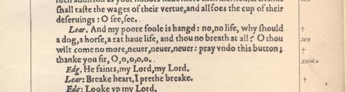 1608 Quarto version of 'King Lear'.