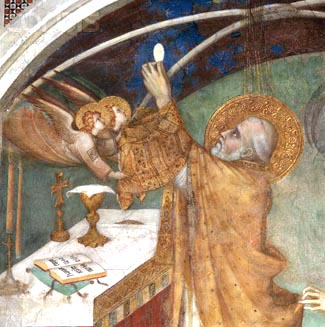 Detail from a Fresco Painting of a Saint Receiving the Eucharist Attributed to Simone Martini and Others