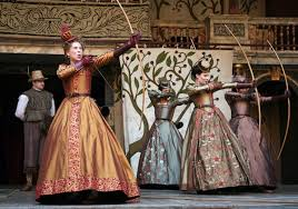 The London 'Globe' production of 'Love's Labour's Lost.' Queen Elizabeth actually used a crossbow.