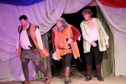 M Falstaff Peto and Bardolph return from robbery.