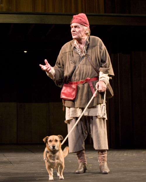 Launce with dog from 'Two Gentlemen of Verona'.