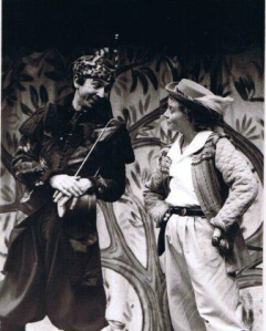 Ricky Sharpe as Feste and Karen Gledhill as Viola/Caesario in Stewart Trotter's production of 'Twelfth Night' at the Northcott Theatre.